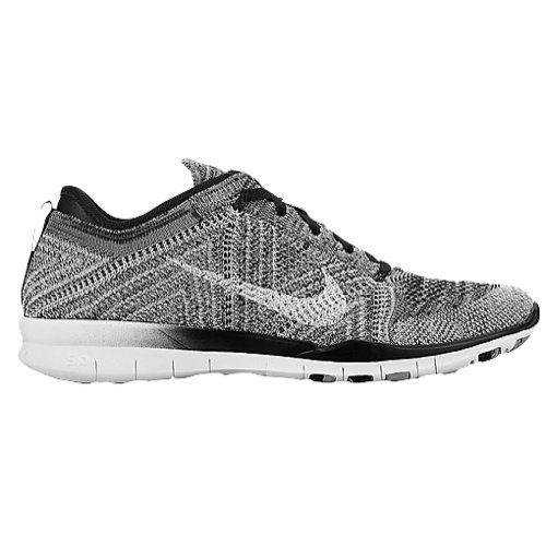 Nike Free 4.0 Flyknit Women's Running Shoes, 10.5, BLACK/WHITE-WOLF GREY