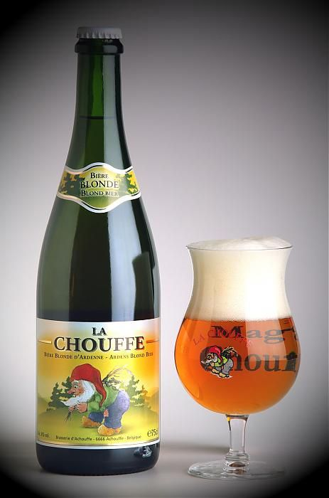 La Chouffe - I'd drink this at the same bar in Maastricht. The bottles always tall and corked.
