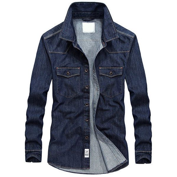 AFSJEEP Fall Denim Chest Pockets Jacket ($34) ❤ liked on Polyvore featuring men's fashion, men's clothing, men's outerwear, men's jackets, mens military style jacket, mens military jacket, mens collared jacket and mens denim jacket