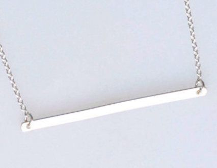 Long Sterling Silver Bar Necklace Silver Bar Pendant by Selicias