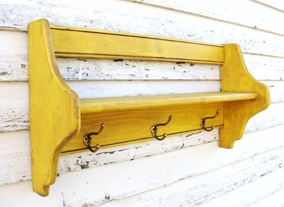 Yellow shelf, perfect for keys, coats, purses, scarves and anything else