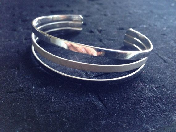 Vintage sterling silver cuff bangle /bracelet by ThreeBearsBrown