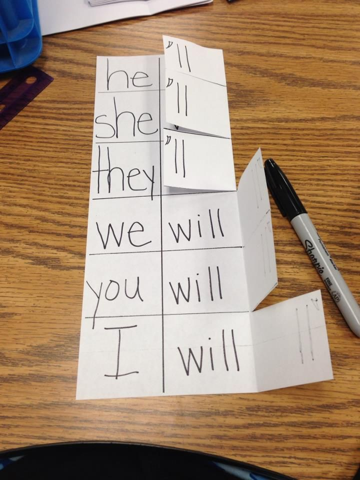 Contraction Cheaters. Two words on one side, fold over to make a contraction.