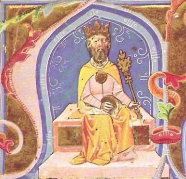 Attila. An illustration from the Chronicon Pictum, c. 1360. - Public Domain. Courtesy of Wikipedia