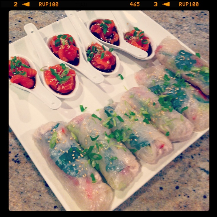 Salmon Sashimi Coconut Chicken Rice Paper Rolls Fodmap