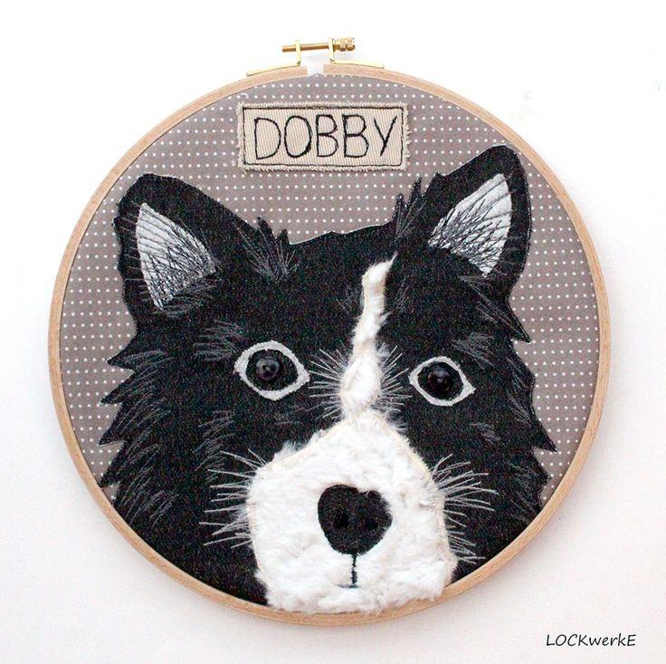Dezember-Stickrahmen 2016: Hundeporträt Dobby