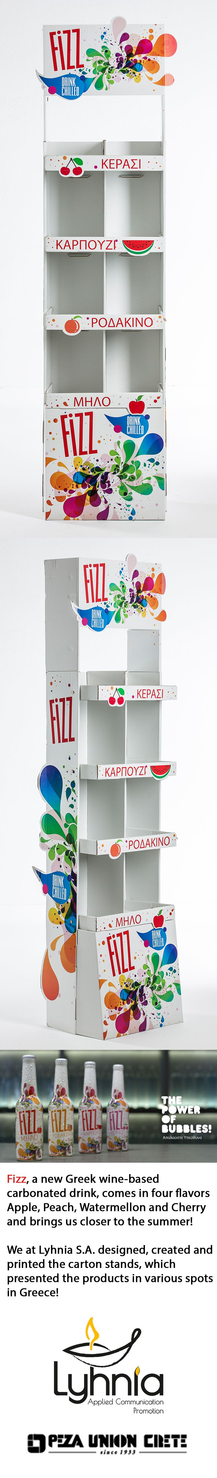 Fizz, a new Greek wine-based carbonated drink, comes in four flavors Apple, Peach, Watermellon and Cherry and brings us closer to the summer! We at Lyhnia S.A. designed, created and printed the carton stands, which presented the products in various spots in Greece!