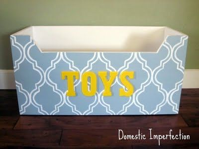 diy toy bin. Would be great with a modern stencil on the front and child's name. Doubles as a gift basket to child filled with their Christmas presents! My kids are both getting one for Christmas.