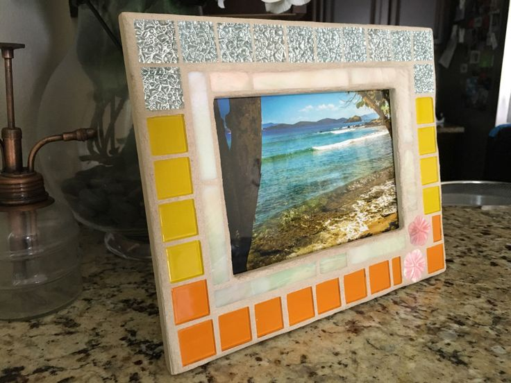 stained glass mosaic mirror stained glass picture frame mosaic mirror mosaic frame beach decor coastal decor wedding frame - Etsy Picture Frames