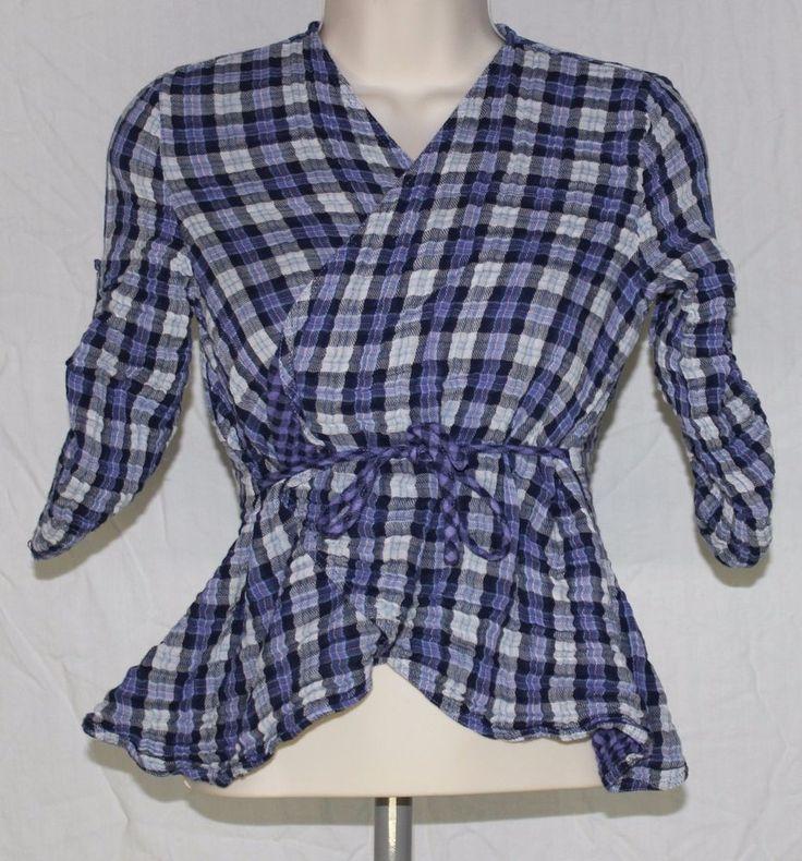 Victoria's Secret Moda Plaid Crinkle Wrap Flannel Blouse Top Small A17 #victoriassecret #wrap #flannel