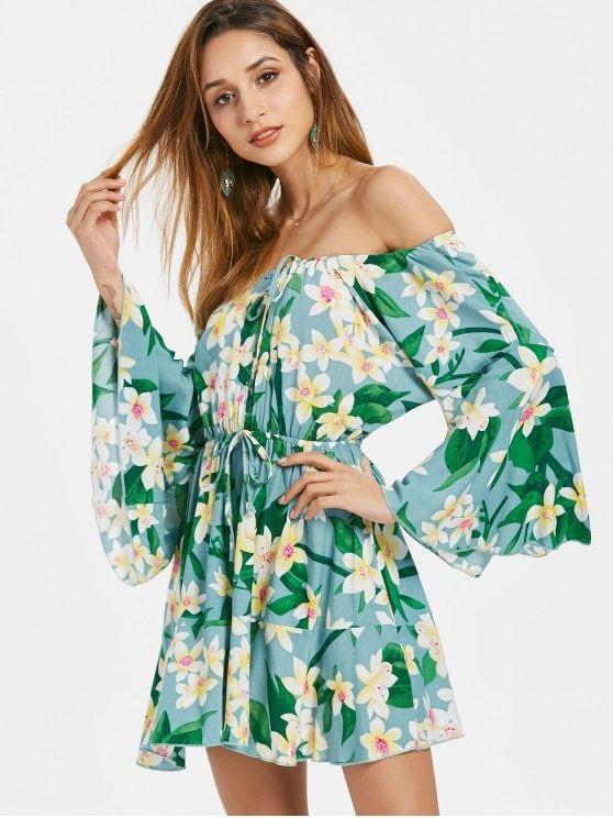 cd129022416f Floral Bell Sleeve Off Shoulder Dress - BLUE HOSTA XL