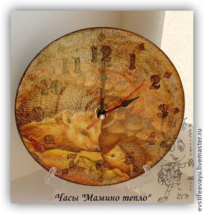 """Часы """"Мамино тепло"""" - коричневый,часы,часы настенные,часы интерьерные"""