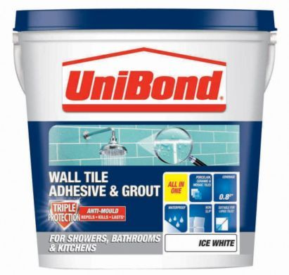 UniBond Triple Protect Wall Tile Adhesive & Grout 1.28kg Ice White, 5010383107826
