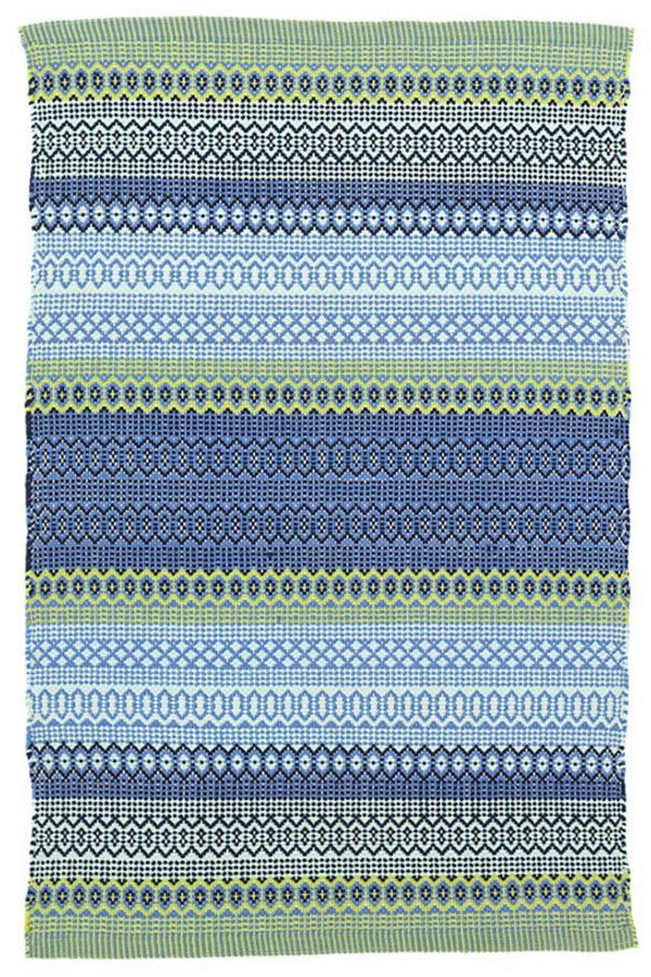 A bright mix of colors come together in the durable and easy to care for Fiesta Stripe French Blue/Green Indoor/Outdoor Rug.…