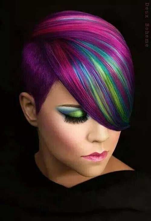 Multi Colored Streaks with Short Hairstyles