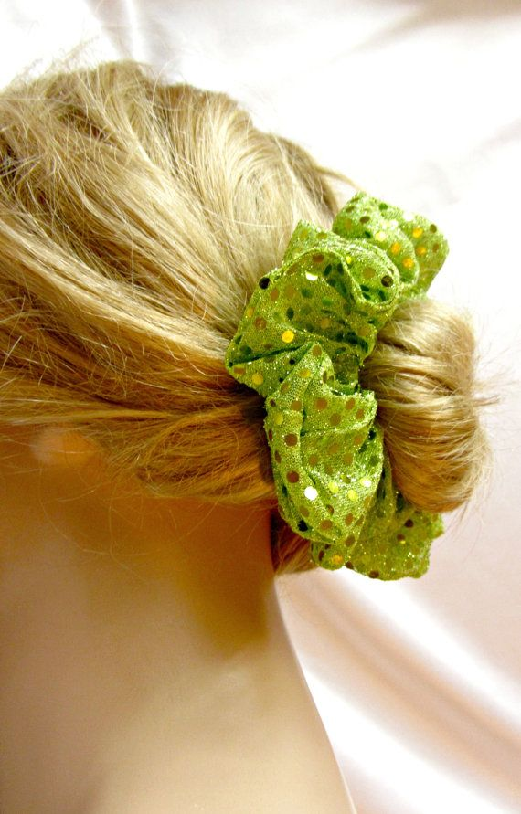 Lime Green Dance Scrunchie for Buns Sequined by JustScrunchies