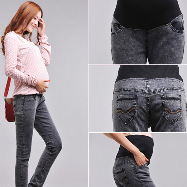 2014 New Style Pregnant  Long Jeans  Comfortable Skinny Belly pants Long Designer pencil Pant Elastic Waist Jeans alishoppbrasil