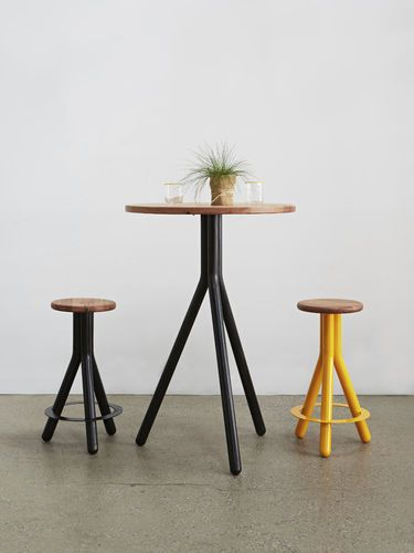 high bar table round minimalist design hardwood pipe series