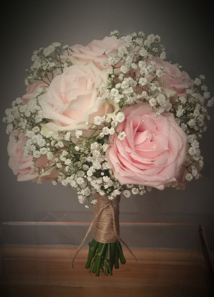 A Bouquet With Sweet Avalanche Roses And Gypsophila