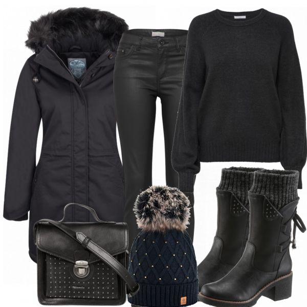 Dieses schöne #allblackeverything Outfit ist ein echter HIngucker und genau das richtige für stylische und moderne Frauen. Es besteht aus einem Winterparka mit schwarzem Kunstfell an der Kapuze, einer coated Jeans und einem Oversized-Pullover in Schwarz. Mit einer schwarzen Tamaris Tasche, schwarzen Stiefeln und einer Mütze (alle drei Teile sind mit kleinen Nieten bestickt) wird das Outfit abgerundet.