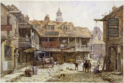 Tabard Inn Southwark | Louise Rayner -- The cobbled courtyard outside Old Tabard Inn: 1870 ...