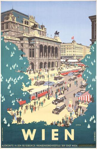 Poster di viaggio vintage – Vienna / Vienna – Austria – di Kurt Schwarz – 1939.