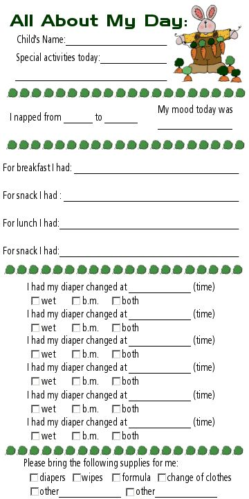 Daycare sheet - All about my day...id like to have the kids fill them out every day (hope that aint too much) so mommy and daddy can know what they did that day