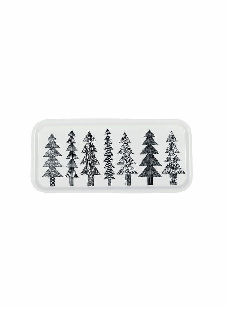 Kuusikossa plywood tray black and white  | Xmas decoration . Weihnachtsdekoration . décoration noël | Design: Maija Louekari @ Marimekko |