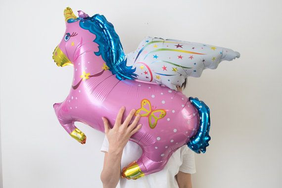 Incredible Enormous Unicorn Foil Helium Balloon, available in Pink or Blue - 43 - Party Decoration Perfect for a girls or boys birthday party,