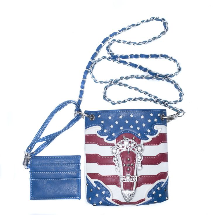 White Mini Crossbody Handbag Purse, Converts to Waist Bag, USA Stars & Stripes. Cute mini size (apx 8 in. x 7 in.) crossbody purse with 62 inch long convertible chain strap. Magnetic snap closure and bling buckle accent with clear rhinestones that sparkle. Perfect for the 4th of July, Memorial Day, Labor Day or any event. Adjust length of chain to wear bag across, over shoulder or around waist. Includes: removable card case, floral fabric lining, exterior zip pocket, interior zip pocket.