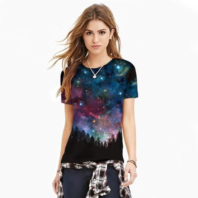Stars Sky Digital Printed Women T-Shirt
