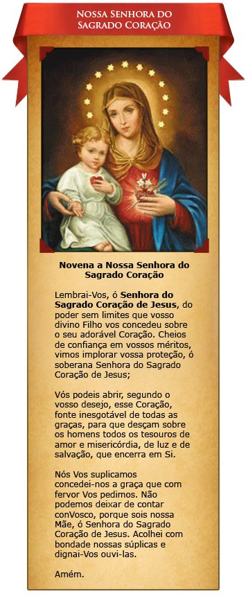Santinhos Virtuais – Nossa Senhora do Sagrado Coração | Associação Apostolado do Sagrado Coração de Jesus