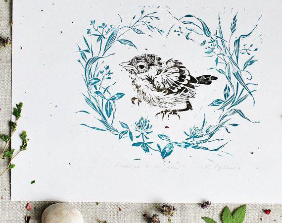 Nestling Lino PrintLinocutHandprintedbird printHand by ElfinLilac