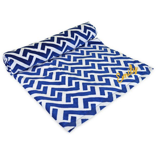Monogrammed Beach Towel Nautical Tide Greek Key Navy Blue Personalized... ($26) ❤ liked on Polyvore featuring home, bed & bath, bath, beach towels, bathroom, home & living, light purple, oversized beach towels, navy beach towel and cotton beach towels
