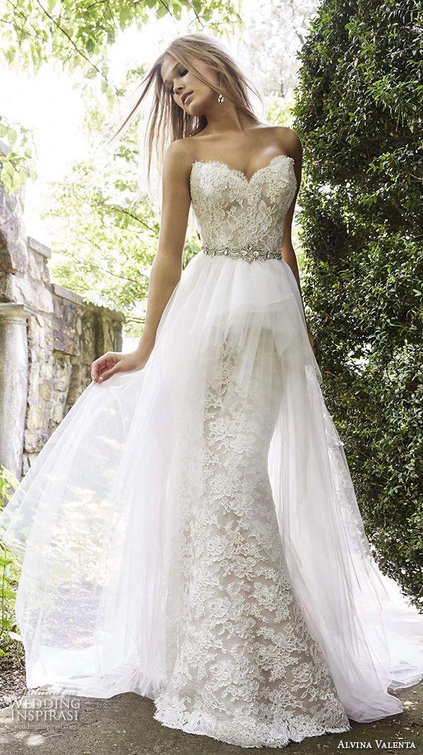 alvina valenta fall 2015 wedding dresses strapless sweetheart neckline corset back detachable tulle overskirt mermaid wedding dress av9553