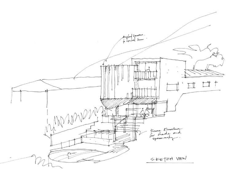 Initial concept for major renovation of waterside home.
