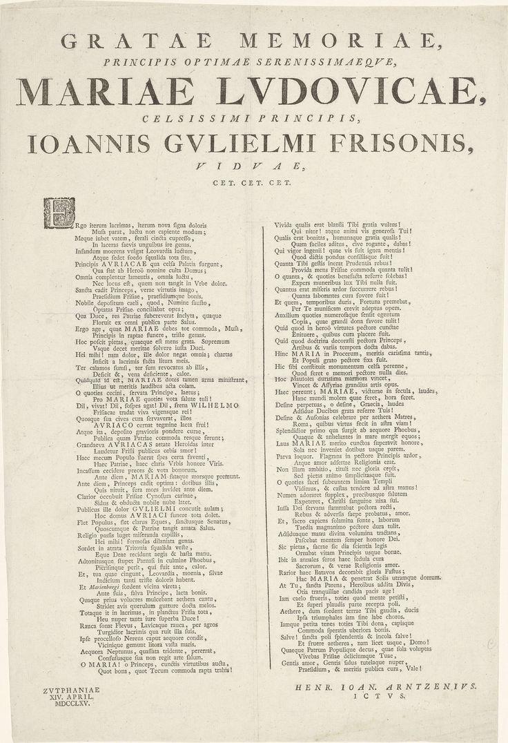 Hendrik Johan Arntzenius | Vers op de dood van prinses Maria Louise, 1765, Hendrik Johan Arntzenius, 1765 | Vers op het overlijden van Maria Louise, prinses van Oranje-Nassau op 9 april 1765. Memorievers in twee kolommen in het Latijn.