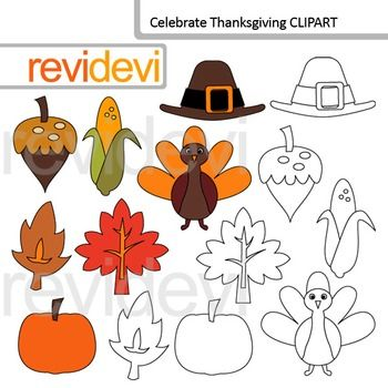 Thanksgiving clip art. Celebrate thanksgiving clipart set features corn, turkey, pumpkin, autumn leaves, and more elements. Great for thanksgiving holiday projects!Clipart resource for creating teachers pay teachers materials.This digital clipart set is great for teachers author seller.