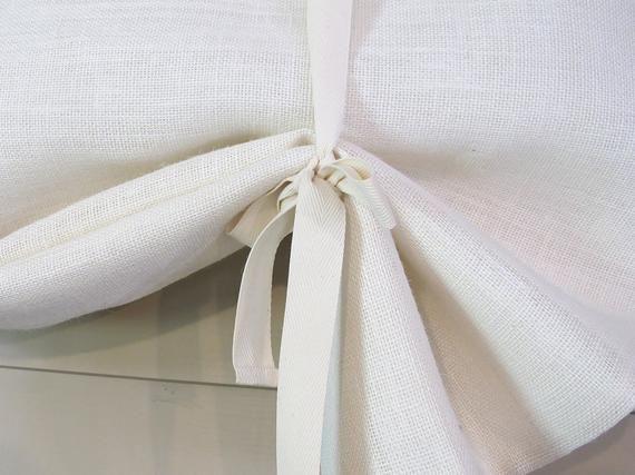 White Burlap 36 Inch Long Burlap Curtain Blind Tie Up Swedish Etsy Curtains With Blinds Burlap Curtains Tie Up Curtains