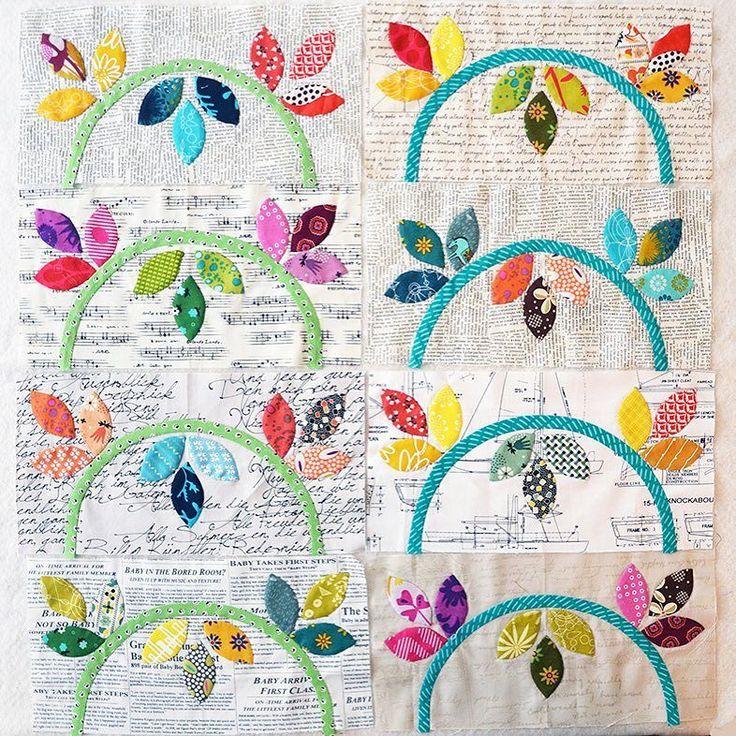All 8 vine blocks for the Happy Days BOM by Sarah Fielke. #sarahfielkebom #needleturnapplique by dutchcomfort