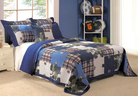 Best T**N Boys Bedding Queen Size Blue Green Camouflage 400 x 300