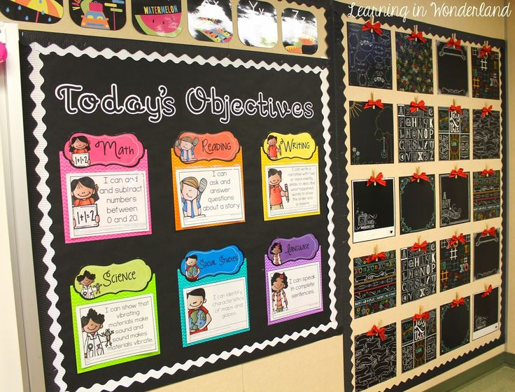 Learning in Wonderland Classroom Tour~Today's Objectives and Students' Work Display Wall