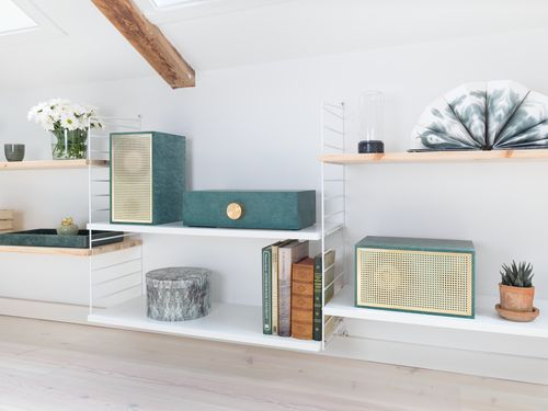 Serpetine stereo in brass and valchromat by Norwegian designers Osloform