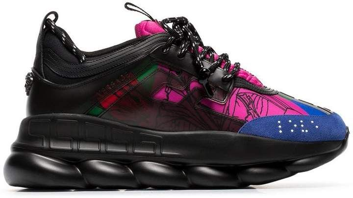 Versace black and multicoloured Chain Reaction sneakers ...