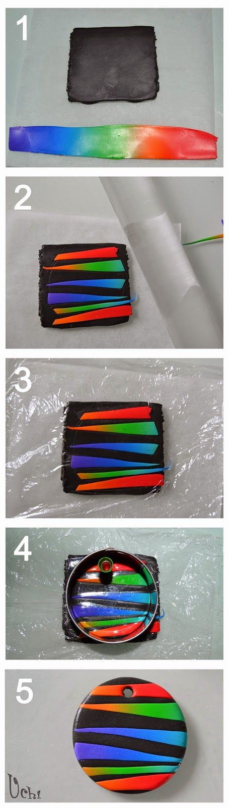 Tutorial colgante arcoíris - Arcilla polimérica, polymer clay   UCHI