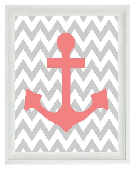 Anchor Beach Nautical Chevron Art Print Set  by RizzleandRugee - Gray and Yellow?