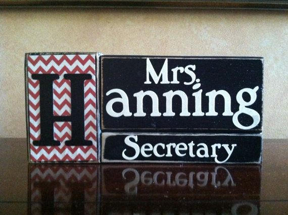 Personalized Secretary Gift - Wood Secretary Name Block - Perfect teacher gift for the end of the school year. on Etsy, $18.00
