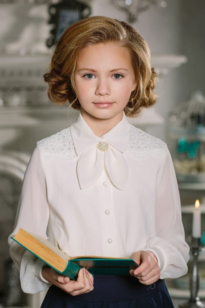 Нарядная блузка для девочки 173663 Молочный