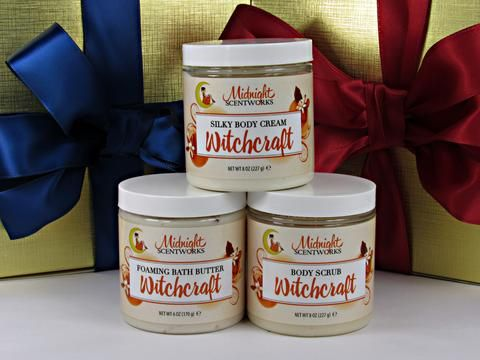 Witchcraft Bath and Body Gift Set - Compare the scent to Love Spell by Victoria's Secret.  #LoveSpell #ChristmasGift #SugarScrub #BodyCream #WhippedSoap