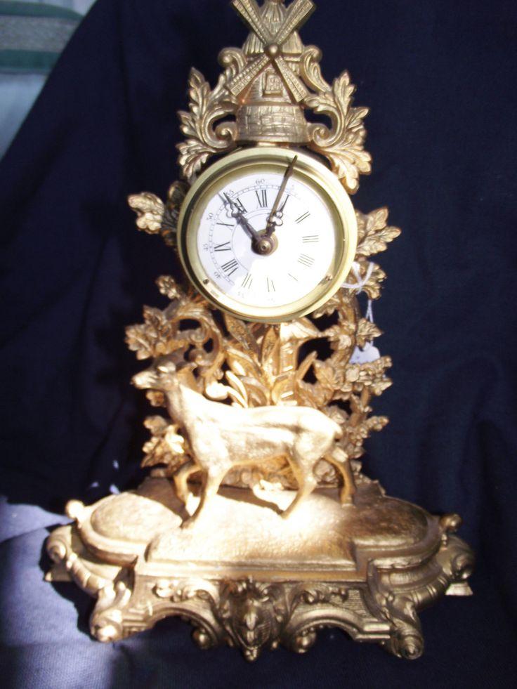 Antique Alarm Clock with Deer,Antique Clock,Antique Figural Clock,Clock with Deer,Fancy Clock , French Alarm Clock,French clock with Deer, by GanttsDecorating on Etsy